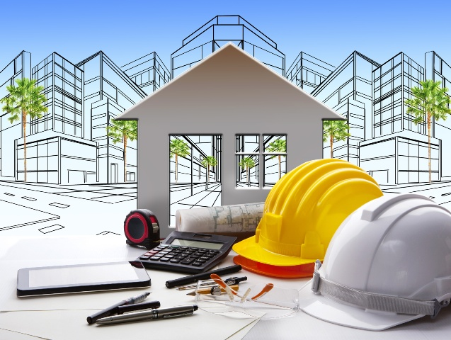 architect working table with construction industry and engineer working tool on top of table use for real estate and property land development theme