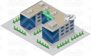 A three dimensional image of a hospital building that is shaped like a sharply angled letter C with a helipad deck on top while parking is adorned with a rows of trees hospital label is printed on a green cross that is placed in the top front part of the building